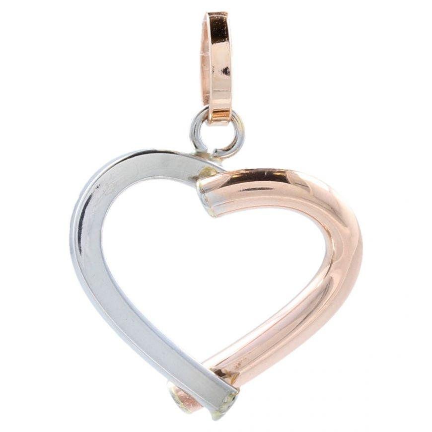 14kt white and rose gold heart pendant | Gioiello Italiano