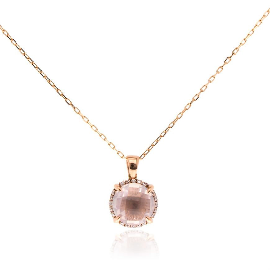 Pink gold necklace with pink quartz | Gioiello Italiano