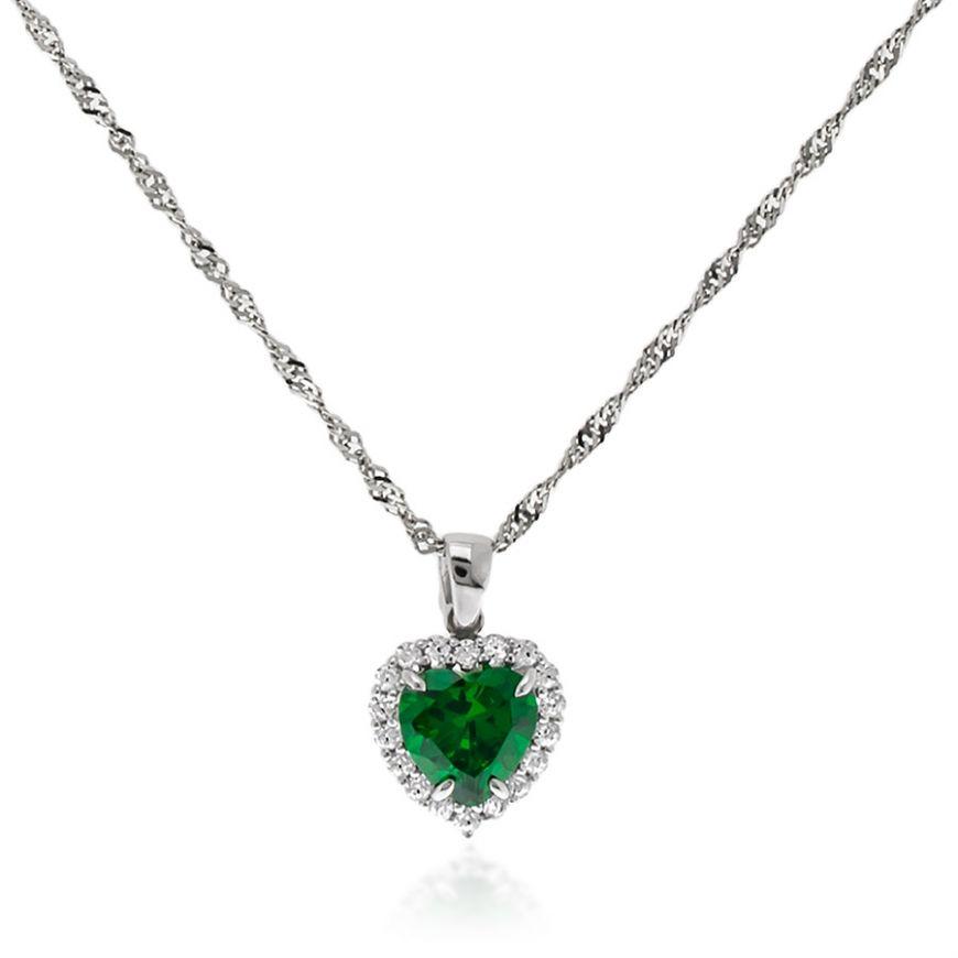 White gold necklace with green heart | Gioiello Italiano