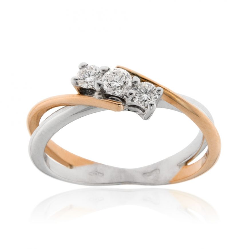 18kt white and pink gold trilogy ring with 0.25ct diamonds | Gioiello Italiano