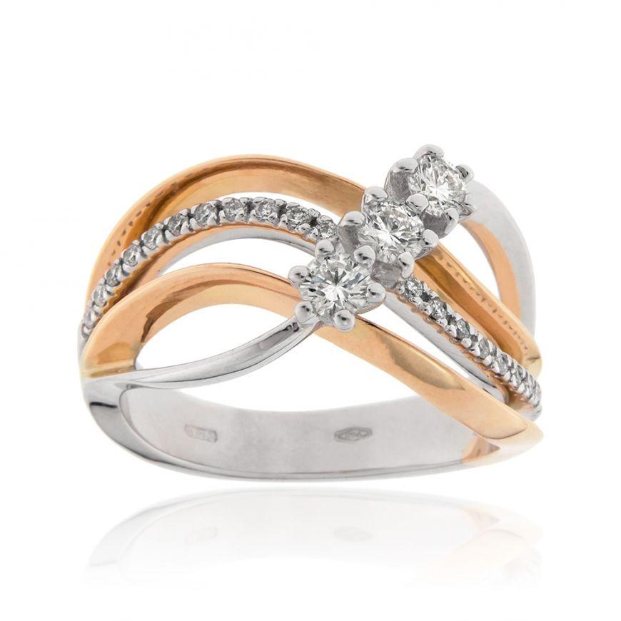Gold trilogy ring with 0.43ct diamonds | Gioiello Italiano