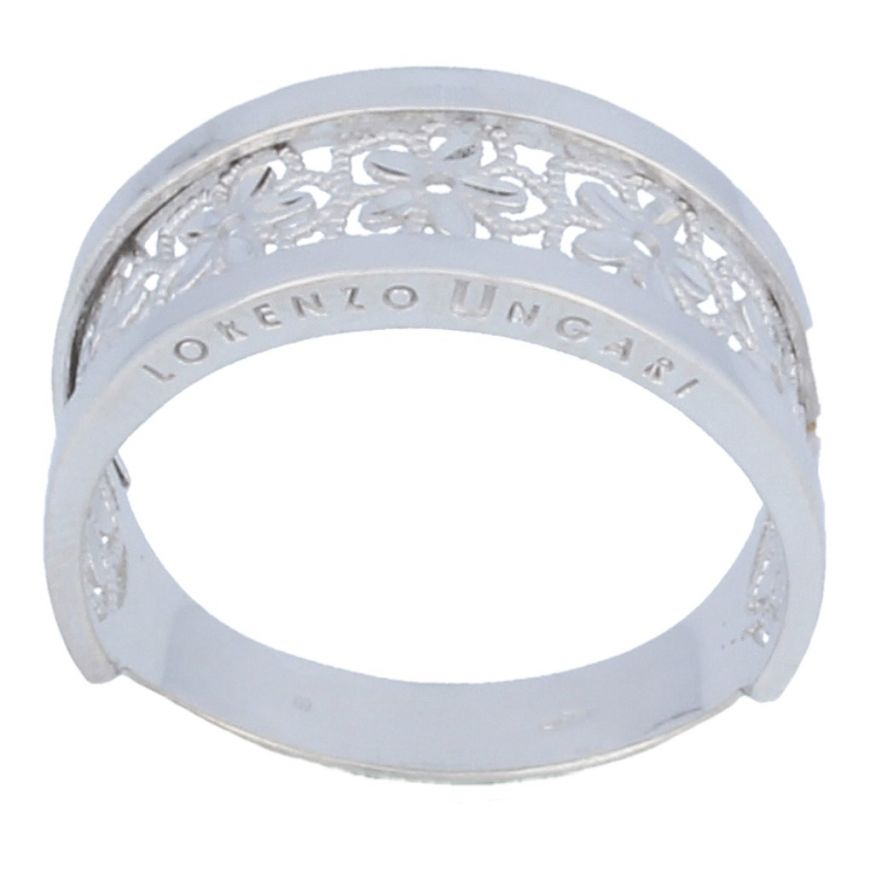 Men's band ring with flowers in 18kt white gold | Gioiello Italiano