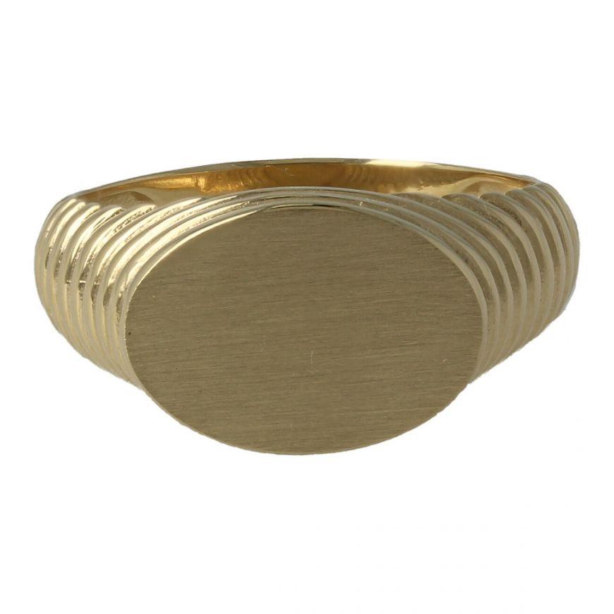 Anello ovale da uomo in oro giallo 18kt | Gioiello Italiano