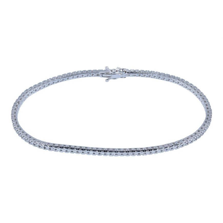 Tennis bracelet in white gold with diamonds 0.92ct | Gioiello Italiano
