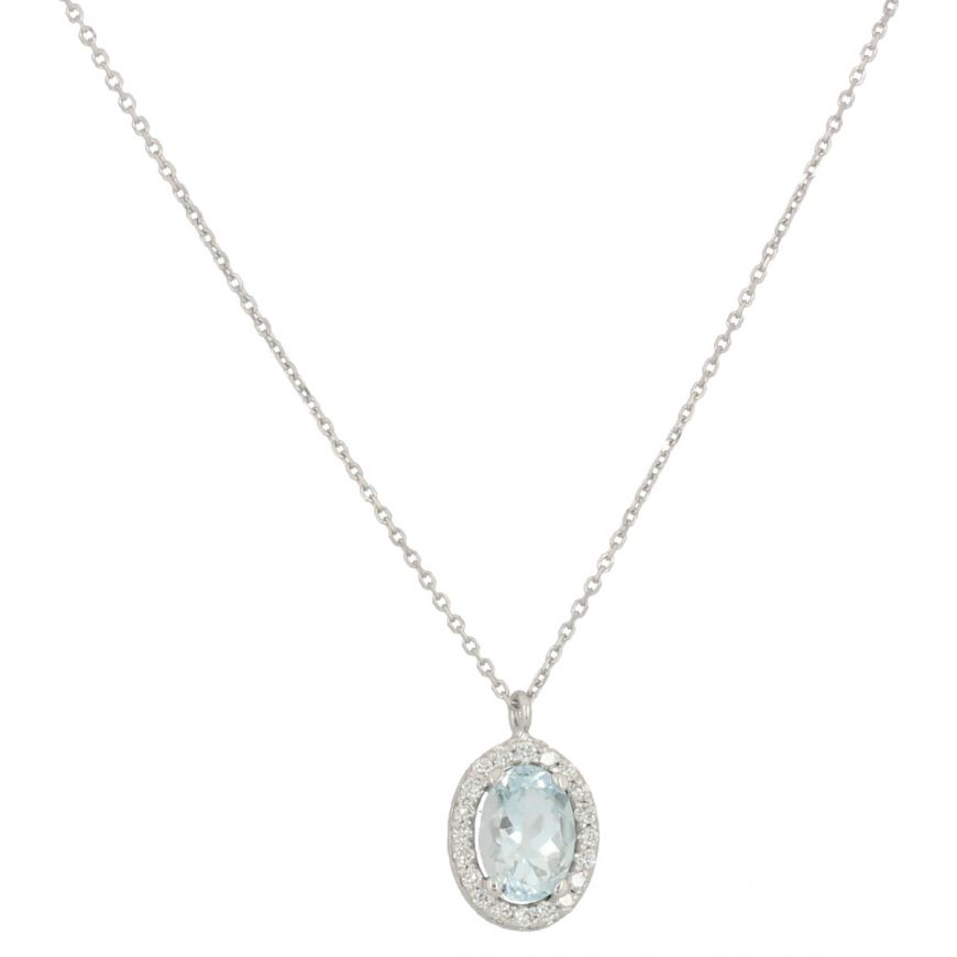 White gold necklace with diamonds and oval aquamarine | Gioiello Italiano
