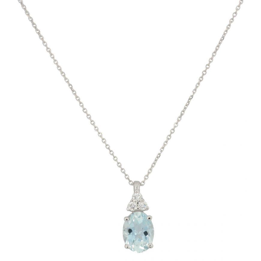 White gold necklace with three diamonds and aquamarine | Gioiello Italiano