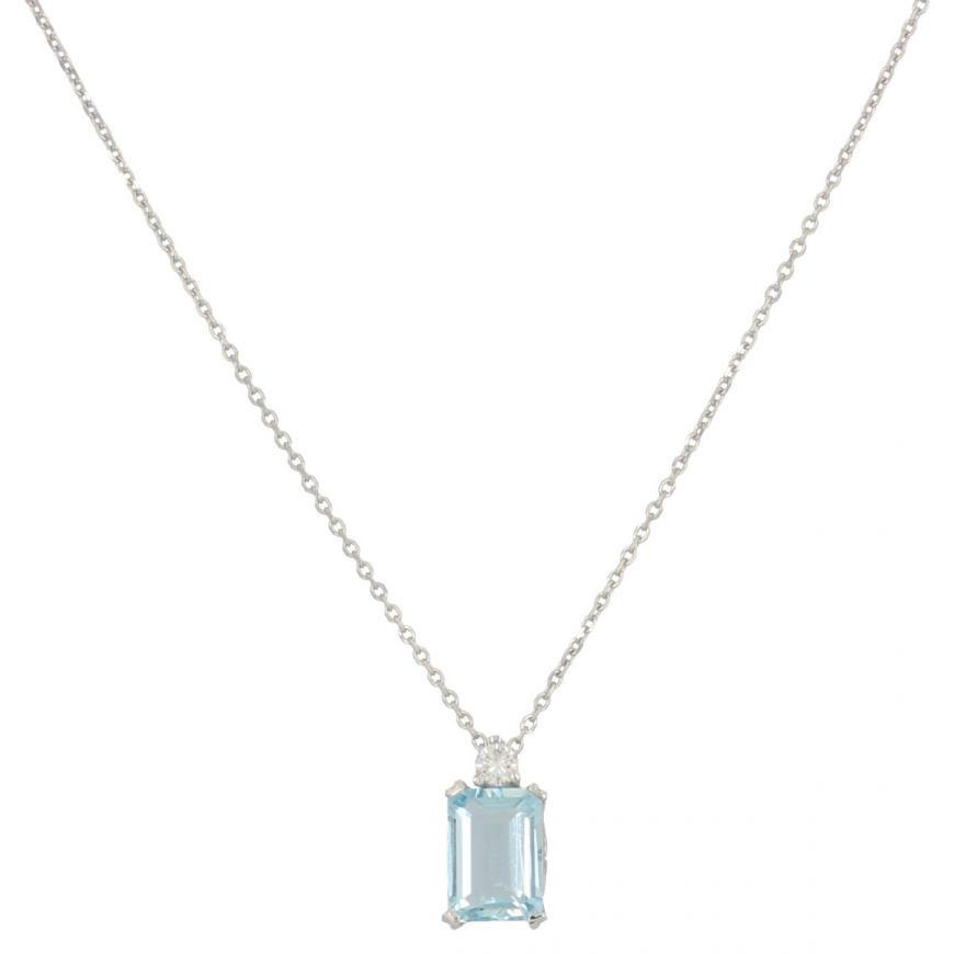 Collana in oro bianco con acquamarina e diamante | Gioiello Italiano