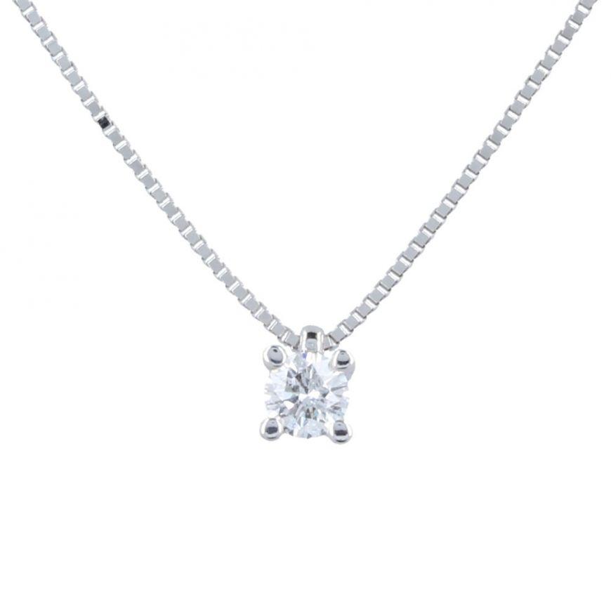 18kt white gold necklace with 0.22ct diamond | Gioiello Italiano