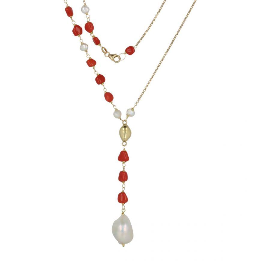 """Collana """"Arena"""" in oro giallo 18kt con corallo rosso e perle coltivate   Gioiello Italiano"""