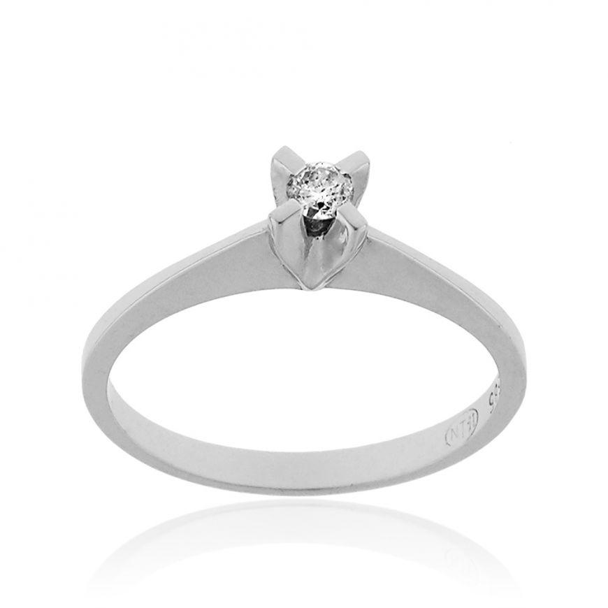 White gold solitaire ring with 0.20ct diamond | Gioiello Italiano