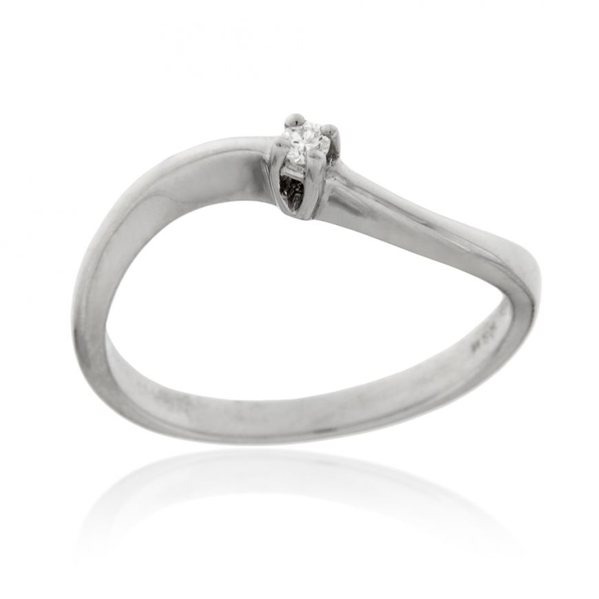 White gold solitaire ring with 0.02ct diamond | Gioiello Italiano