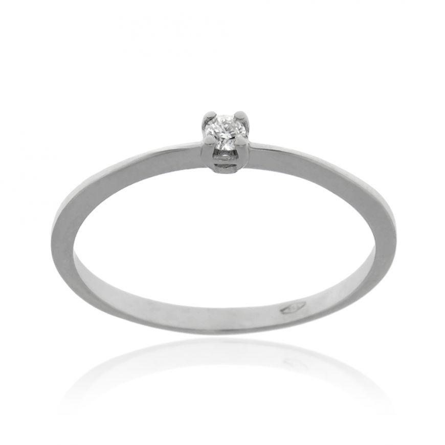 White gold solitaire ring with 0.05ct diamond | Gioiello Italiano