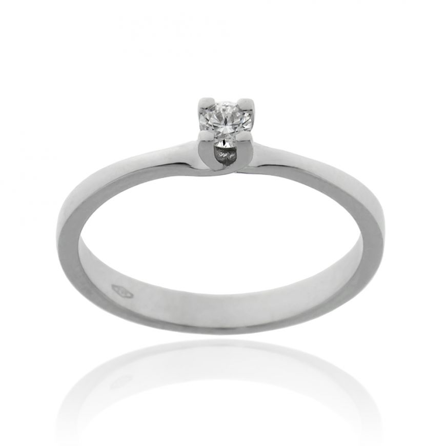 White gold solitaire ring with 0.10ct diamond | Gioiello Italiano