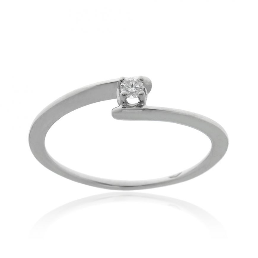White gold solitaire with 0.10ct diamond | Gioiello Italiano