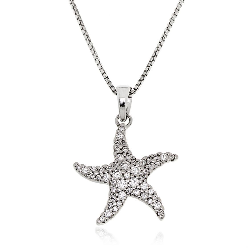 Starfish silver necklace with zircons | Gioiello Italiano