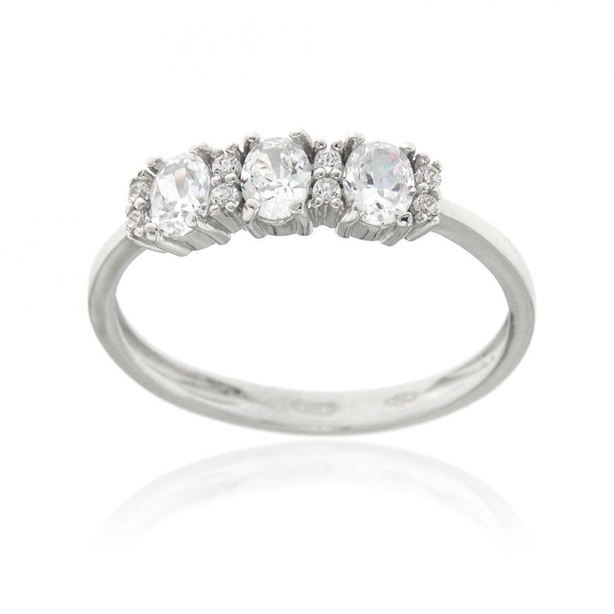 18kt white gold ring with zircons | Gioiello Italiano
