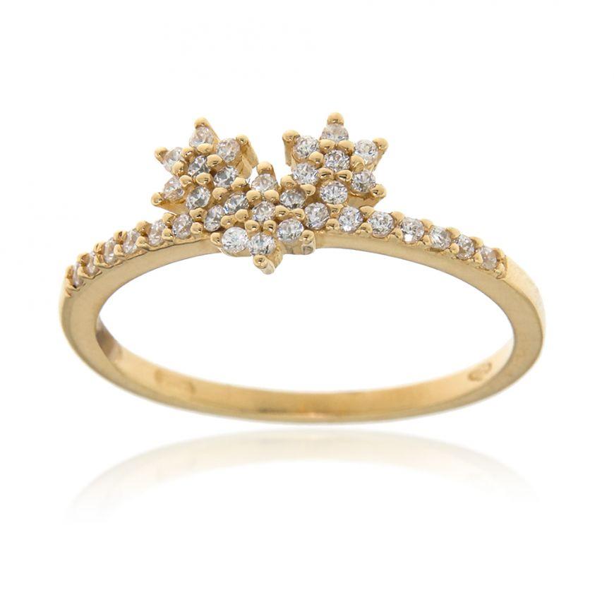 """Yellow gold """"Three Stars"""" ring with zircons   Gioiello Italiano"""