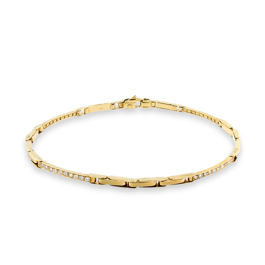 14kt yellow gold bracelet with white zircons | Gioiello Italiano