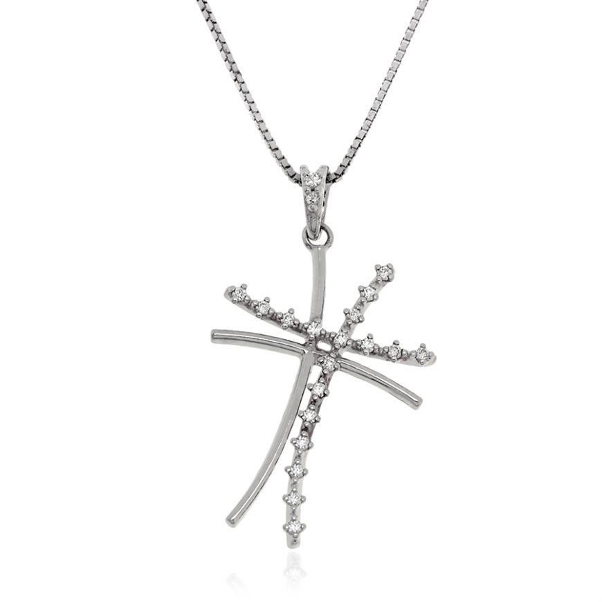 Silver necklace with cross-shaped pendant | Gioiello Italiano