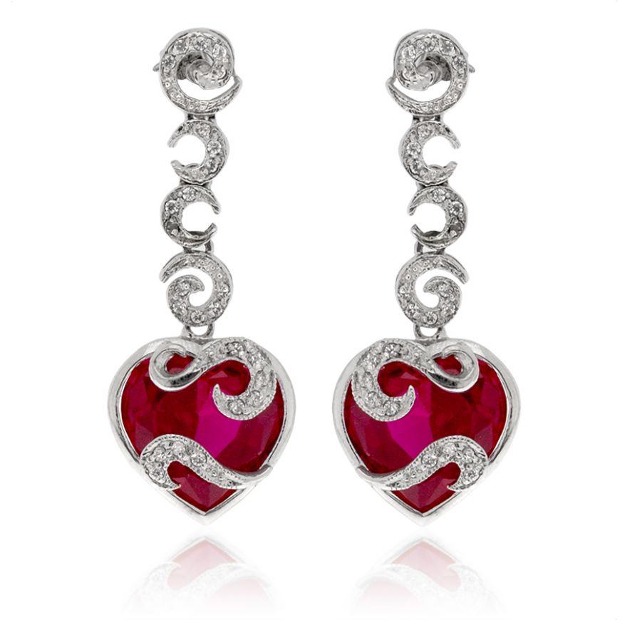 Orecchini a cuore in argento con zirconi | Gioiello Italiano