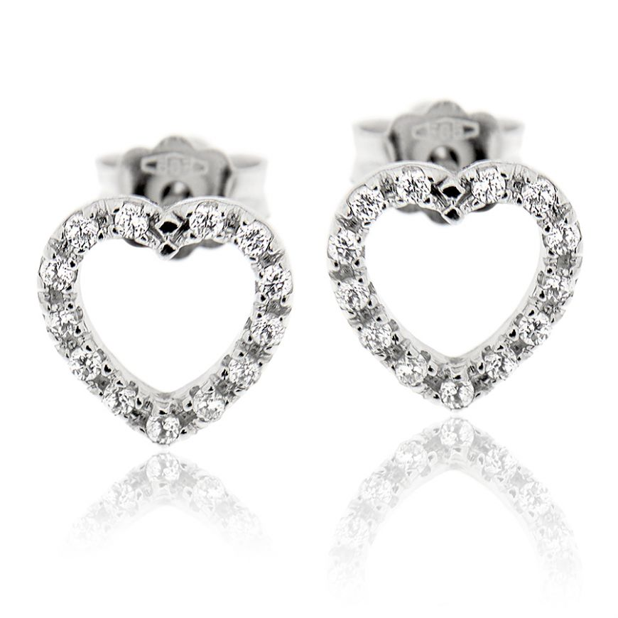 Heart-shaped white gold earrings with zircons | Gioiello Italiano