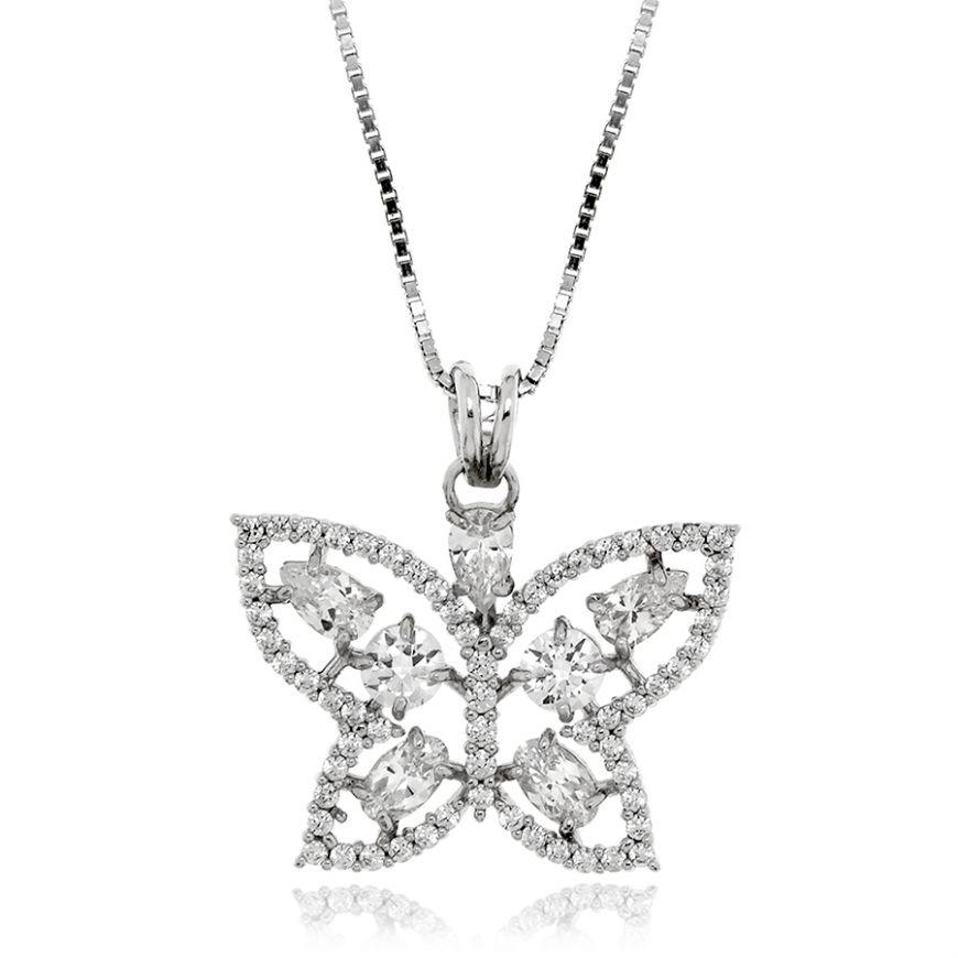 Collana farfalla bianca in argento | Gioiello Italiano