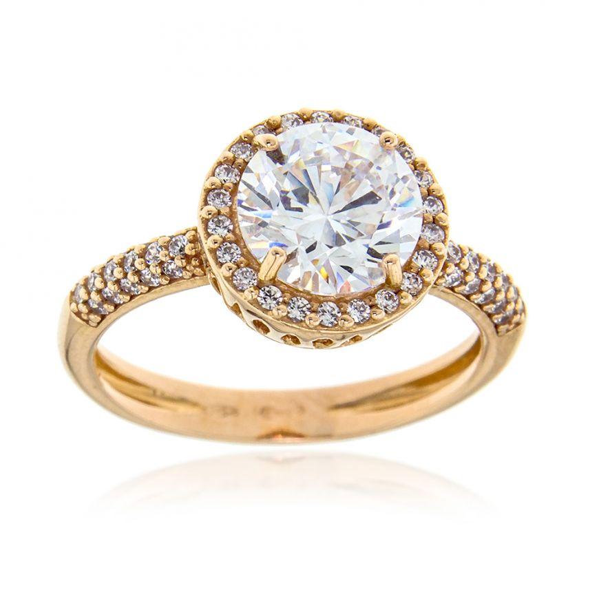 18kt rose gold ring with white zircons   Gioiello Italiano