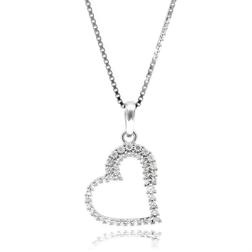 Silver necklace with heart-shaped pendant | Gioiello Italiano