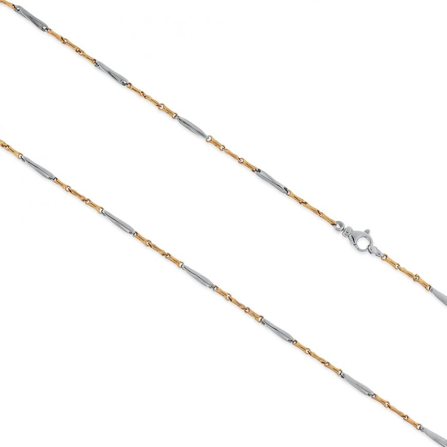 14kt yellow and white gold segments chain | Gioiello Italiano