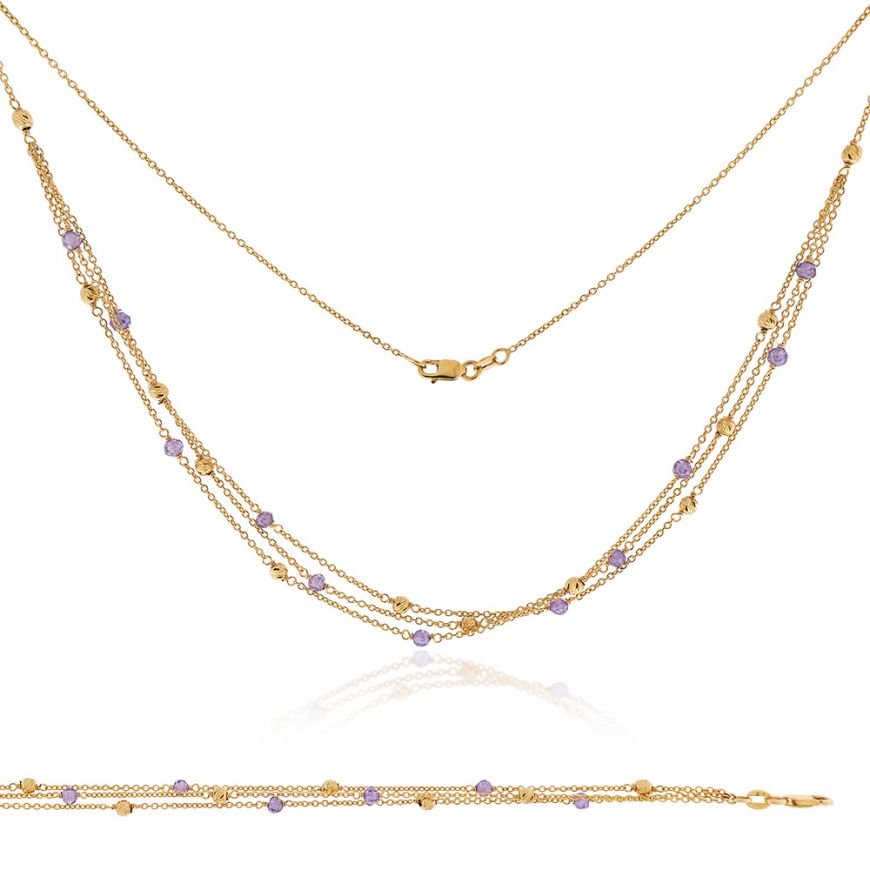 14kt yellow gold set with amethyst | Gioiello Italiano