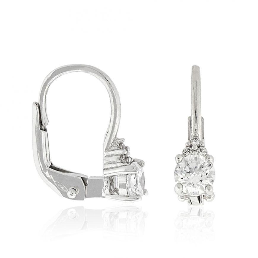 18kt gold earrings with white cubic zirconia stones | Gioiello Italiano