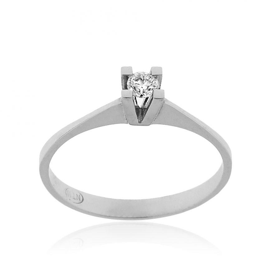 14kt white gold solitaire ring with 0.20ct diamond | Gioiello Italiano