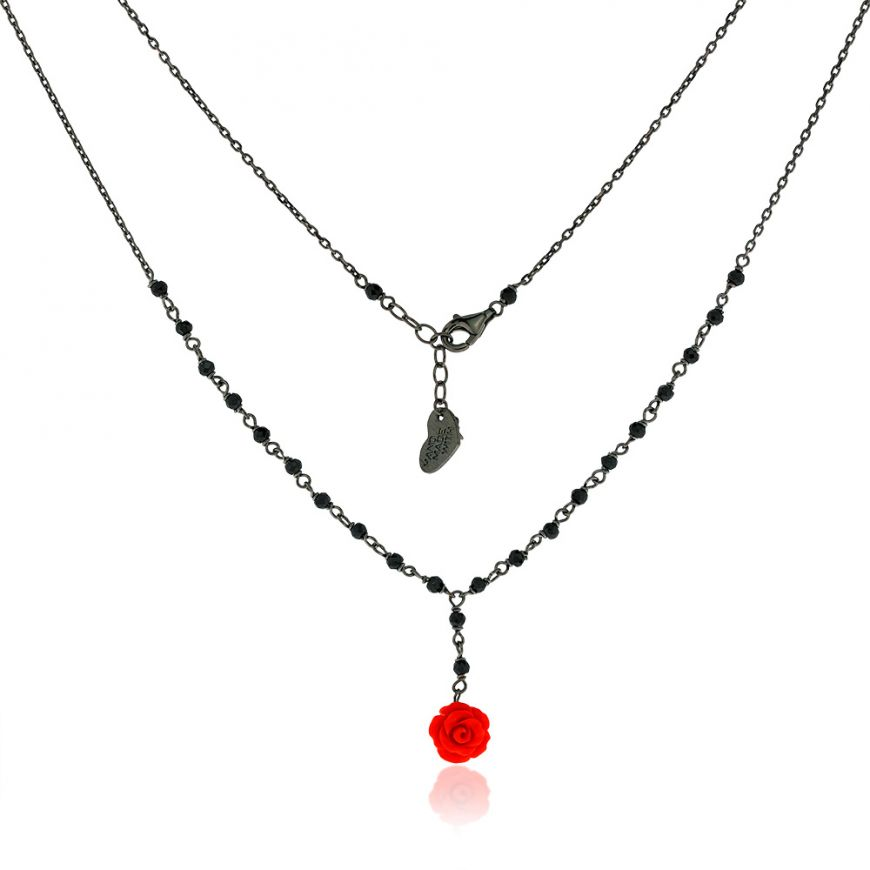 "Silver necklace with spinel and rose pendant ""Linea Marie"" | Gioiello Italiano"