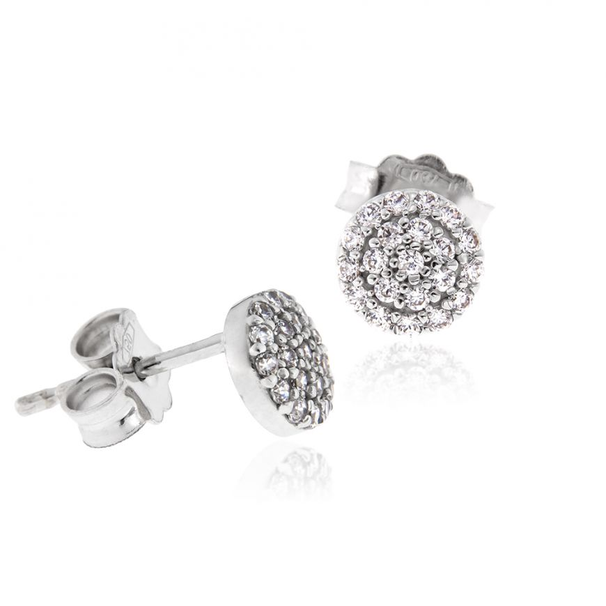 Round stud earrings with cubic zirconia pave | Gioiello Italiano