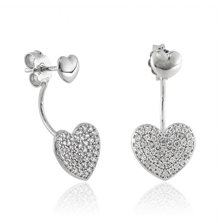 14kt white gold earrings with cubic zirconia pave | Gioiello Italiano