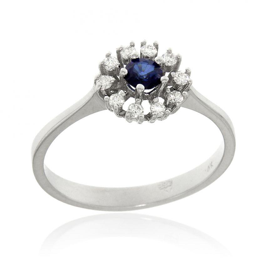 Anello in oro bianco con zaffiro e diamanti | Gioiello Italiano