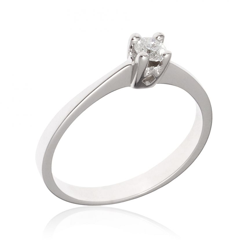 14kt white gold solitaire ring with diamond | Gioiello Italiano