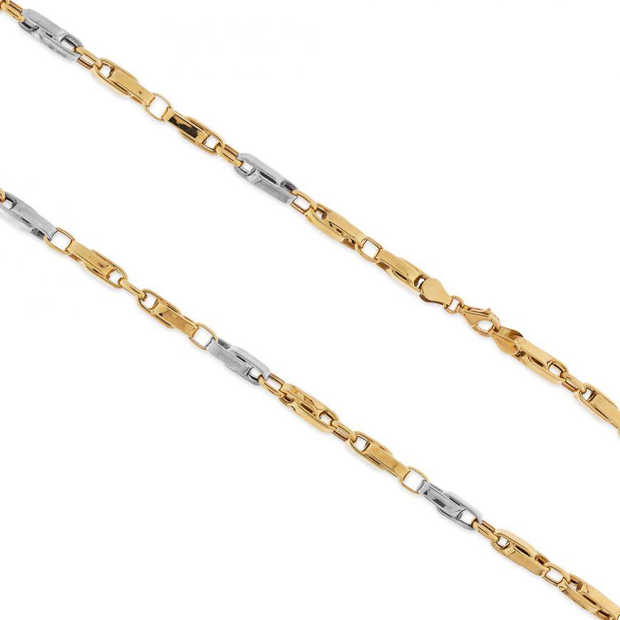 Catena segmenti grande in oro bianco e giallo | Gioiello Italiano