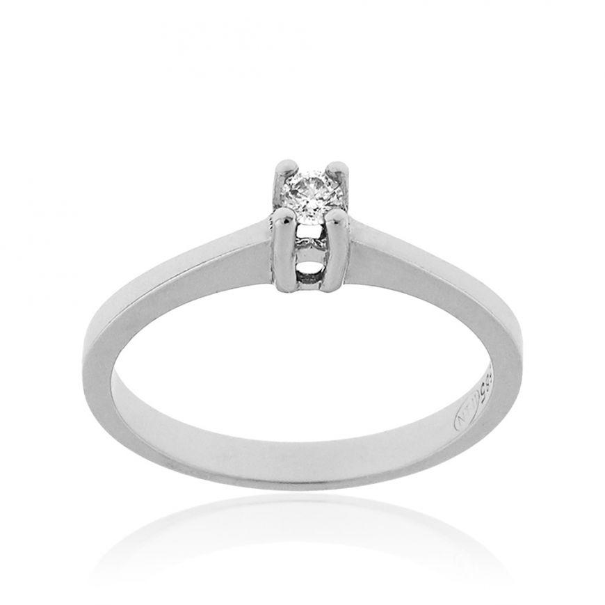 14kt white gold solitaire ring with 0.20ct diamond | Gioiello Italiano