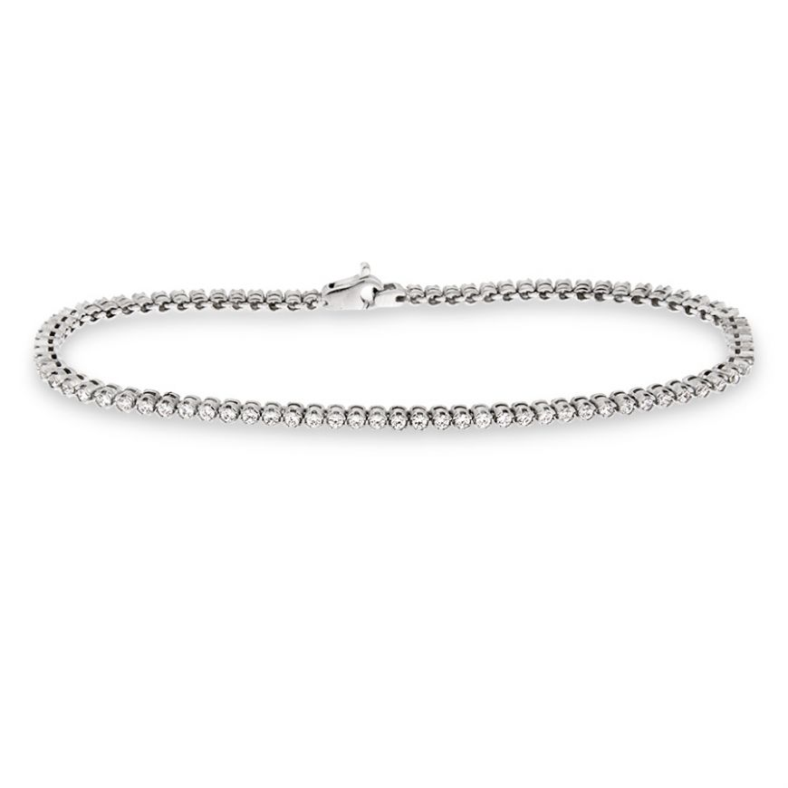 Tennis bracelet in white gold with 80 zircons | Gioiello Italiano
