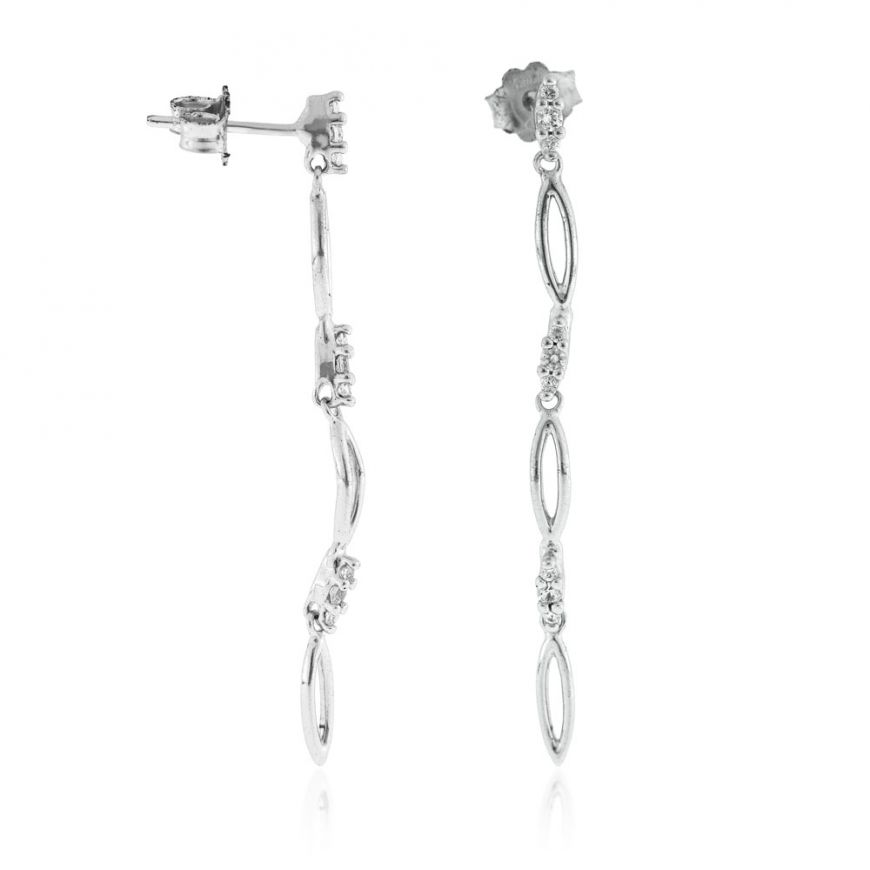 Silver pendant earrings with cubic zirconia | Gioiello Italiano