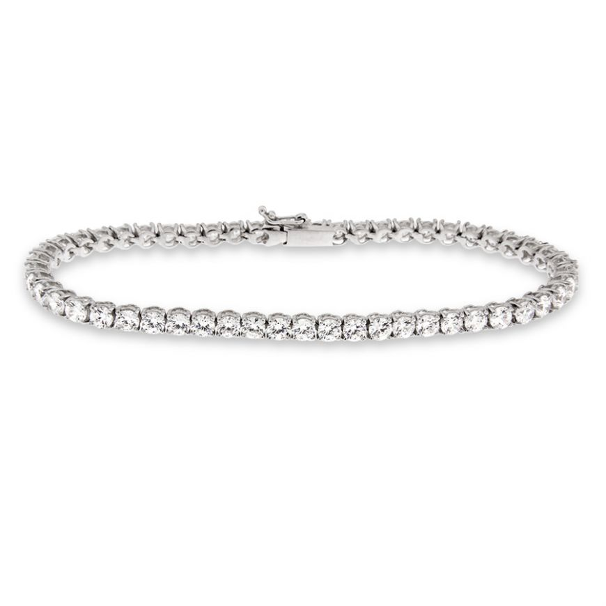 Tennis bracelet in white gold with 53 zircons | Gioiello Italiano