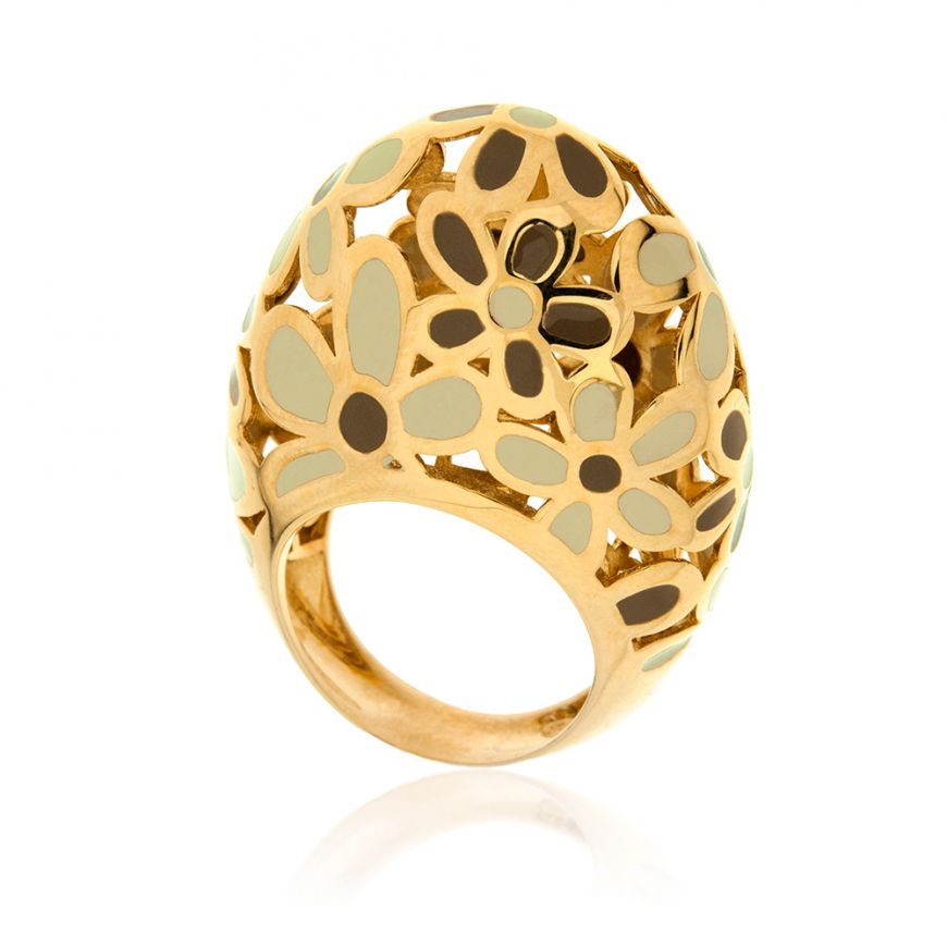 Yellow gold plated silver ring | Gioiello Italiano