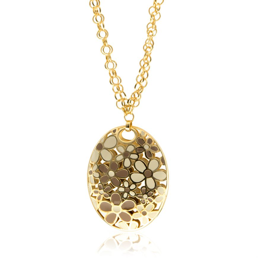 Yellow gold plated silver necklace with varnish | Gioiello Italiano
