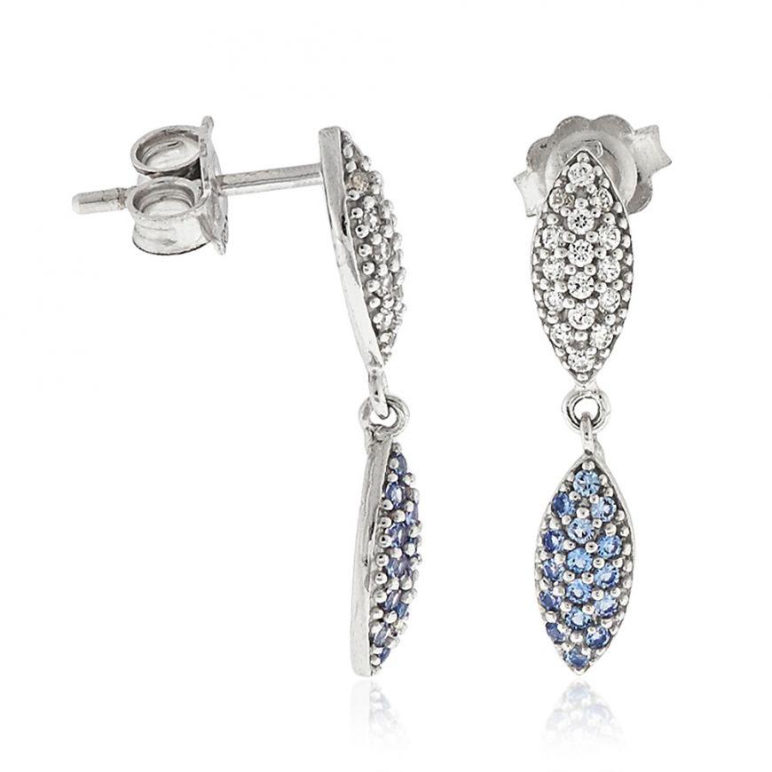 White gold pendant earrings with zircons pave | Gioiello Italiano