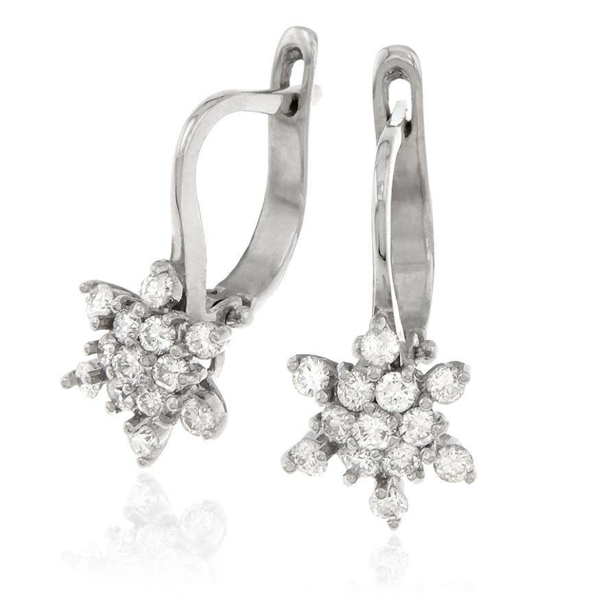 Orecchini a stella in oro bianco e diamanti | Gioiello Italiano