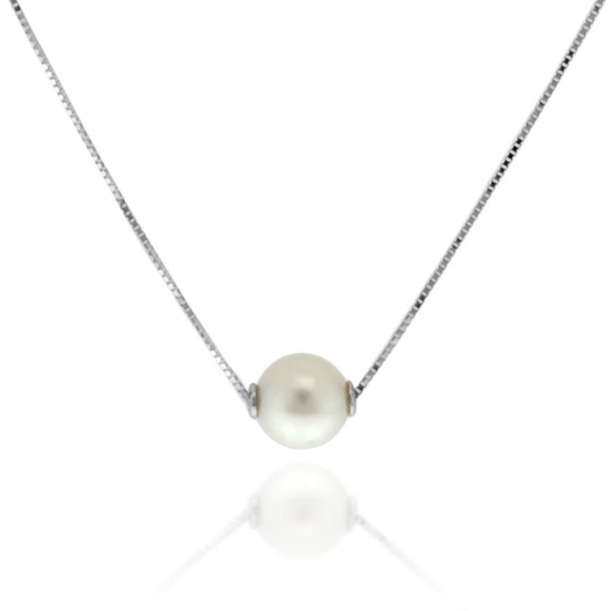 Collana in oro bianco con perla naturale | Gioiello Italiano