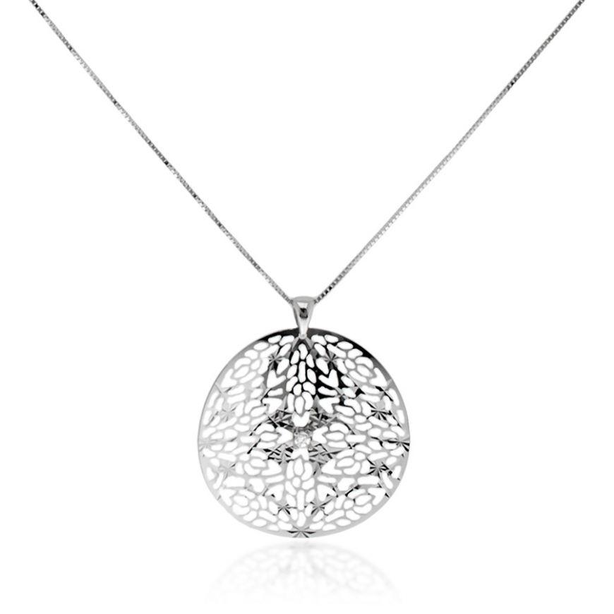 18kt white gold necklace with pendant   Gioiello Italiano