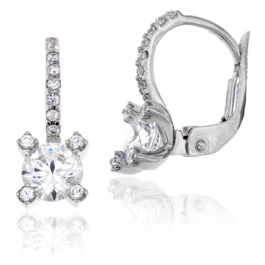 18kt white gold earrings with zircons | Gioiello Italiano