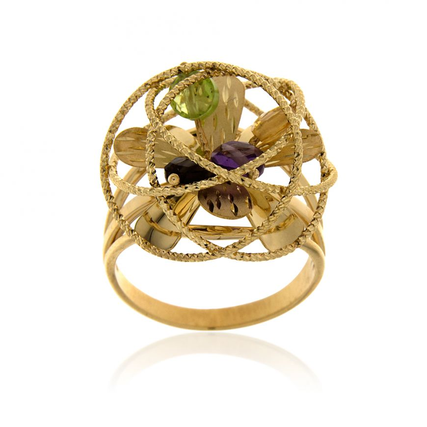 "Yellow gold ""Coaro"" ring with stones 